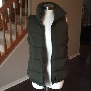 Army Green Puffer Vest - Fleece Lined